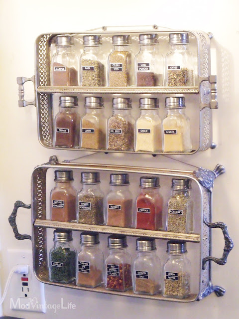 spice rack made from platters