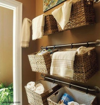 towel bar bath baskets and storage