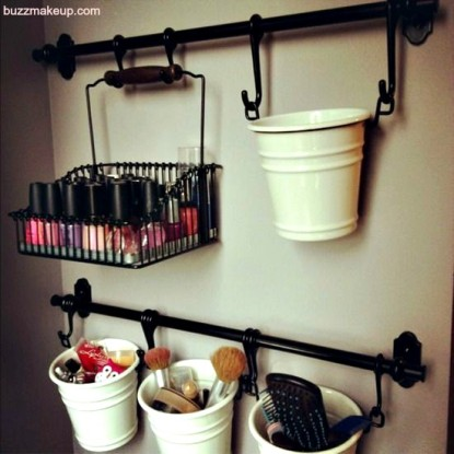 towel bar makeup holder