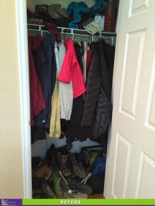 Crammed Coat Closet Before
