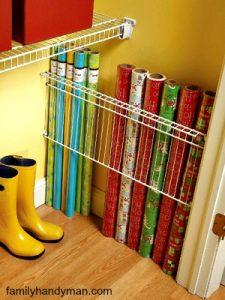 Keep Wrap Organized And Easy To Reach By Attaching A Wire Shelf Vertically  To The Side Of A Closet Wall. Easy To Store And Reach When You Need Them.