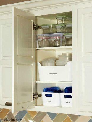Tupperware in cabinet