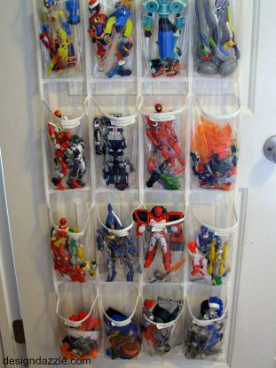 toys organized in an over-the-door shoe holder